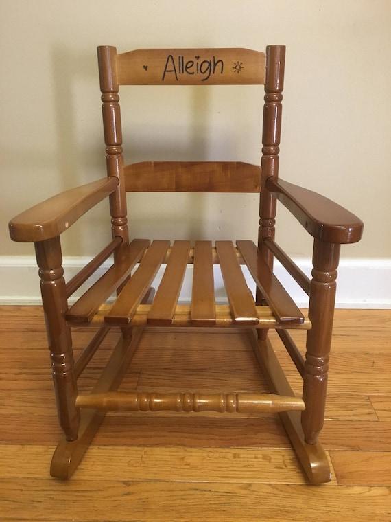 Fine Wood Burned Childrens Rocker Rocking Chair Personalized Evergreenethics Interior Chair Design Evergreenethicsorg