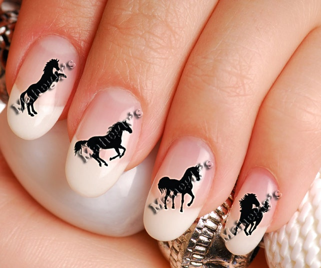Western Horse Nail Art Decal Sticker Set Hor904 Etsy
