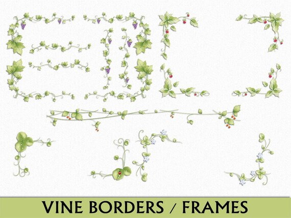Vines Borders & Frames Clip Art Graphic Leaves Plant Nature Clipart ...