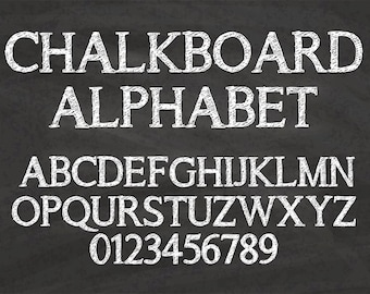 Chalkboard Alphabet Clip Art Graphic ABC Letters Numbers Clipart Scrapbook Digital Download White Chalk Transparent PNG