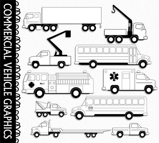 Commercial Vehilces Clip Art Black White Outline Vehicles