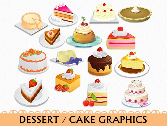 Kuchen Clip Art Grafik Essen Süßigkeiten Dessert Clipart Etsy