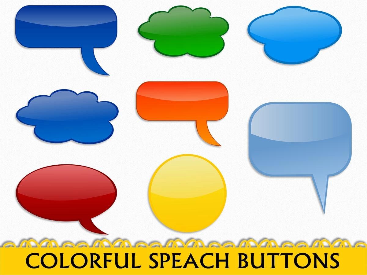 colorful speach buttons bubbles clip art graphic comic book etsy rh etsy com clip art button images clip art button flower