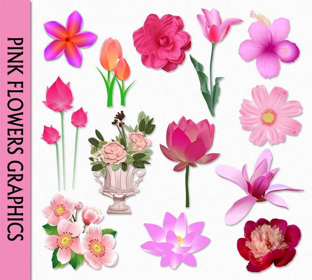 Pink Flowers Clip Art Graphic Clipart Digital Scrapbook Rose Etsy