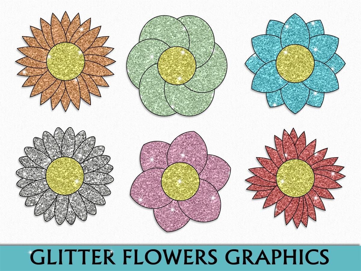 Glitter Flowers Clip Art Nature Clipart Scrapbook Green Blue Etsy