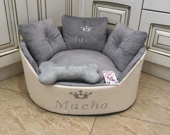 fb060a8a8e05 Light gray and cream personalized dog bed Luxury bed for dog Grey bed for  dog Designer pet bed Cat bed Custom made dog bed Royal dog bed