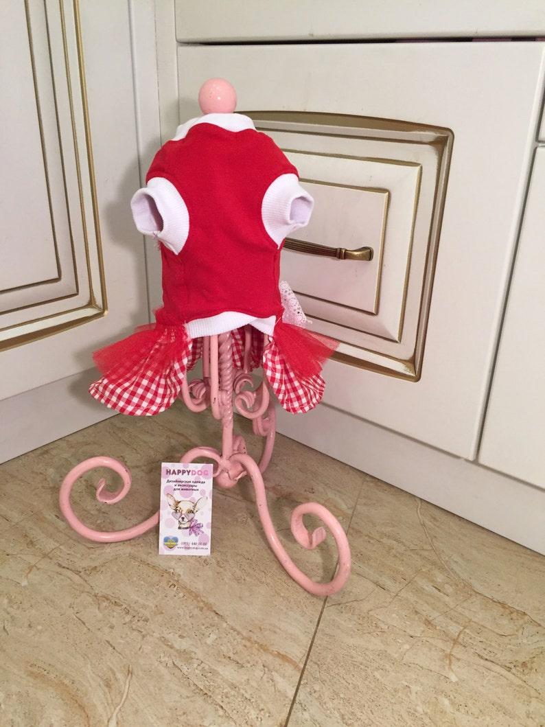 Red designer dog dress with striped heart pattern Raffled dog dress Birthday dog dress Custom made dog dress Luxury dog dress