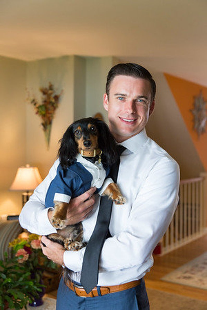 Navy blue dog tuxedo with black bow tie Dog wedding attire Formal dog suit Swallow-tailed dog coat Birthday dog costume Custom Dog wedding