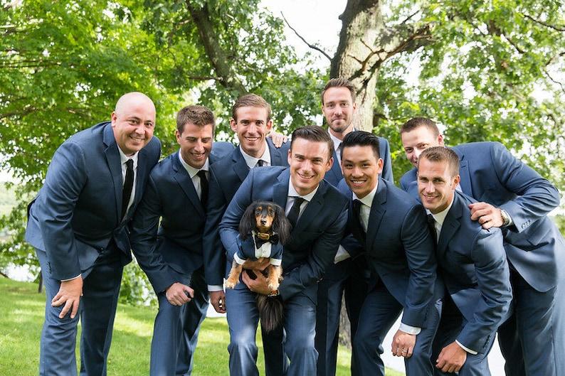 046f1727656 Navy blue dog tuxedo with black bow tie Dog wedding attire | Etsy