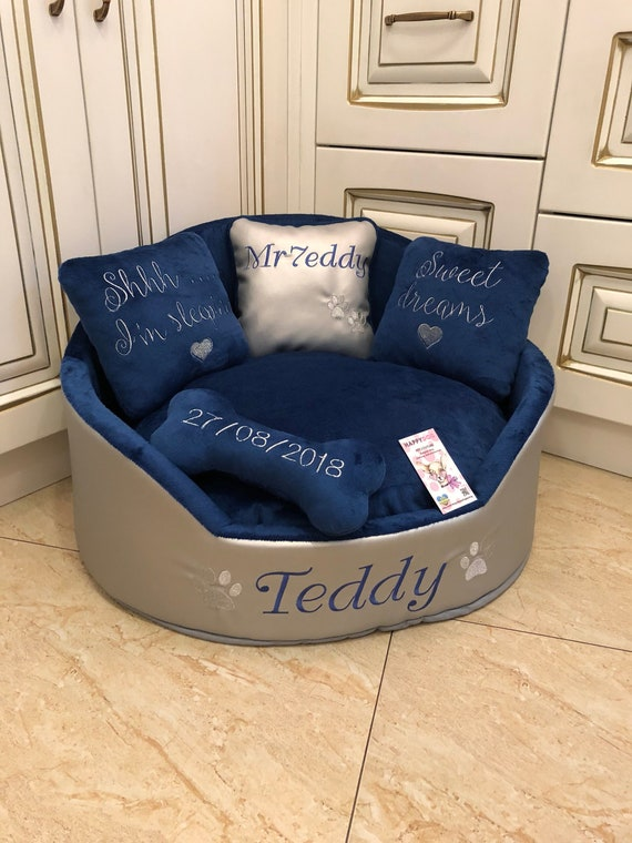 Groovy Silver And Navy Blue Luxury Dog Bed Faux Leather Pet Bed Designer Pet Bed Custom Made Dog Bed Personalized Bed Dog House Silver Dog Bed Squirreltailoven Fun Painted Chair Ideas Images Squirreltailovenorg