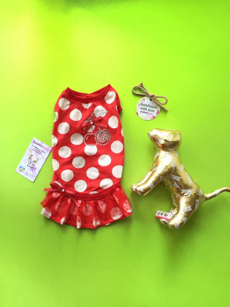 55415fd7a1 Red and white polka dot dog dress with cherry sparkles