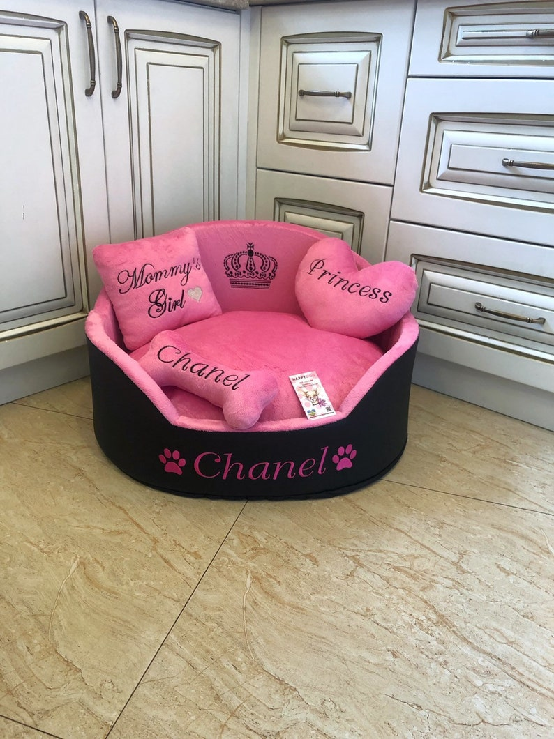Pink and black personalized dog bed Faux leather pet bed image 0