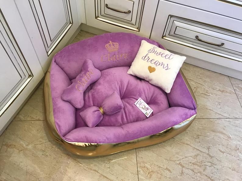 Purple and golden princess dog bed Designer dog bed Personalized dog house Small dog bed Medium dog bed Cat bed Luxury dog bed Birthday dog