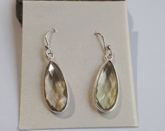 Green amethyst earrings; prasiolite,; set in sterling silver, 92.5, faceted