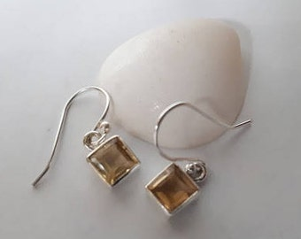 Faceted citrine earrings set in 92.5 sterling silver;free shipping