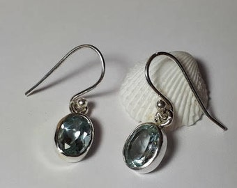 Faceted blue topaz earrings, 92.5 sterling silver,free shipping