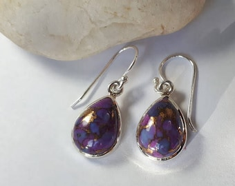 Copper turquoise earrings, purple, 92.5 sterling silver