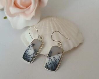 Genuine dendrite earrings in silver