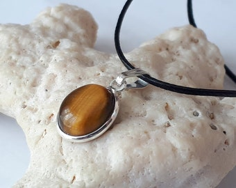 Tiger eye necklace, 16 inches,  set in 92.5 sterling silver