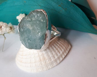 Raw aquamarine ring, set in 92.5 sterling silver, pictured ring will be the one shipped
