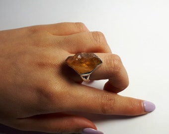 Raw, rough citrine ring, size 8.25, set in 92.5 sterling silver,  resizing available