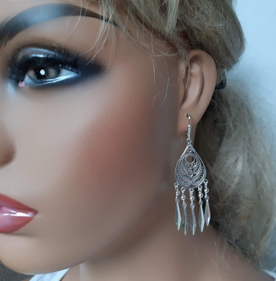 Beautiful Boho Middle Eastern Bedouin Sterling Silver Filigree Blue Bead Vintage Long Earrings