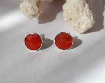 Red coral stud earrings, red,round, 10 mm, 92.5 sterling silver