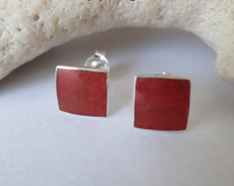 Coral stud earrings set in sterling silver, free shipping
