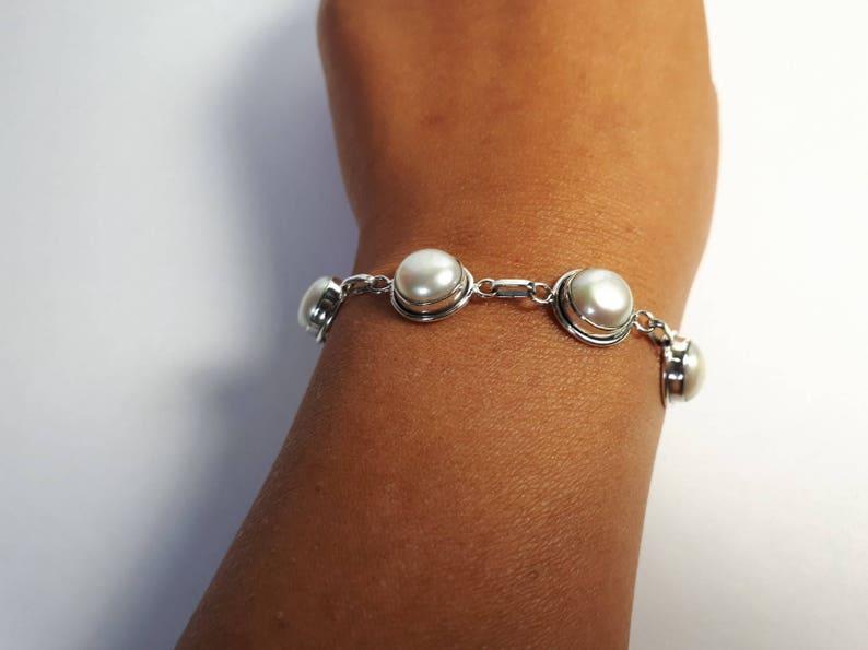 handmade freshwater pearls 92.5 sterling silver Pearl bracelet