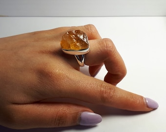 Raw, rough citrine ring, size 6, set in 92.5 sterling silver,  resizing available