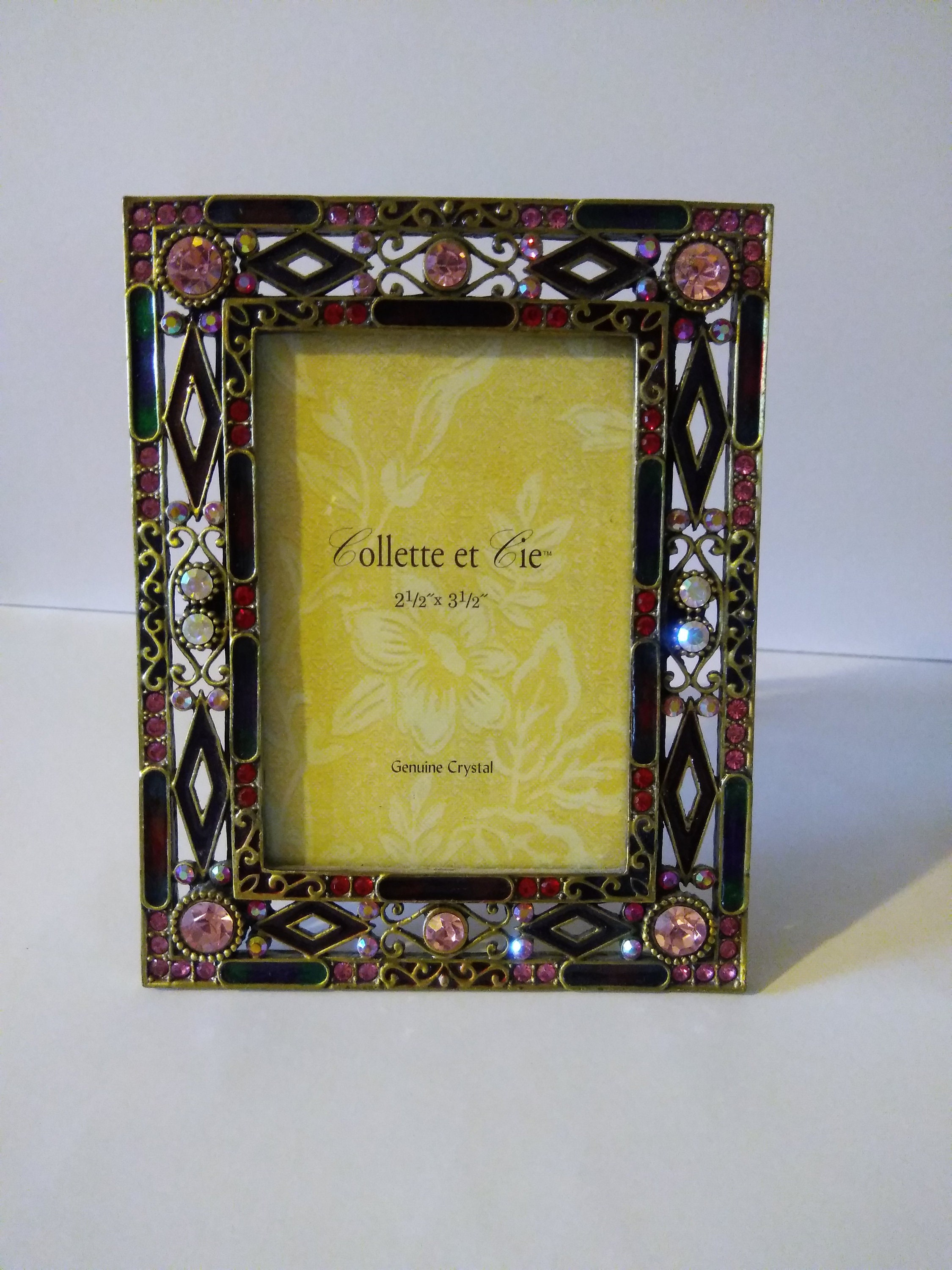 Crystals and Enamel Square Picture Frame, Genuine Crystals Frame by ...