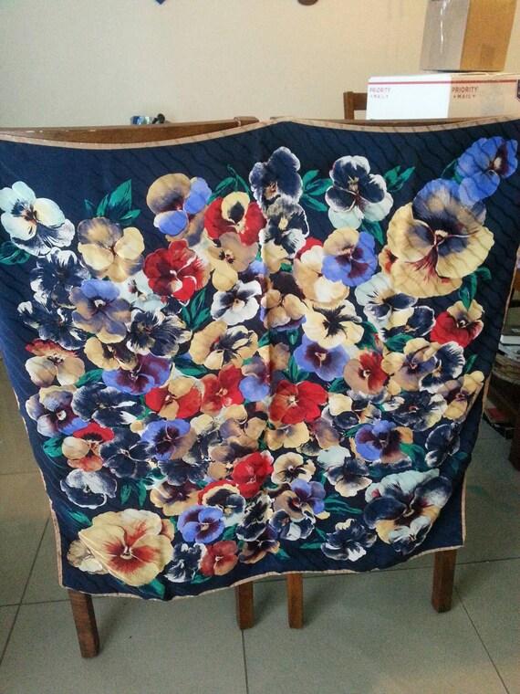 Pansies Flowers Silk Scarf, Floral Big Scarf. - image 4