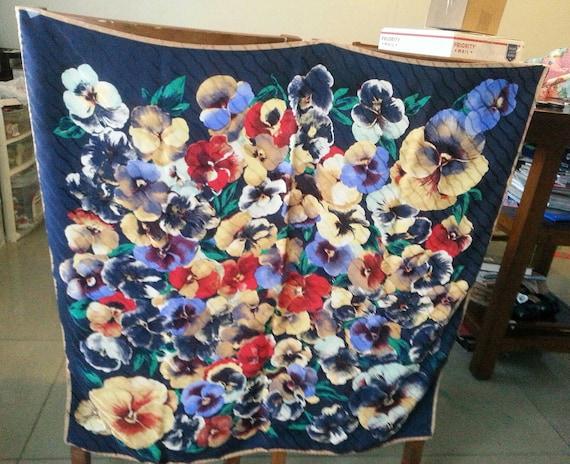 Pansies Flowers Silk Scarf, Floral Big Scarf.