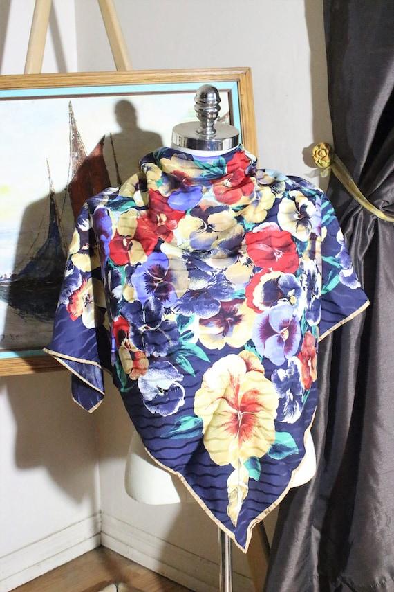 Pansies Flowers Silk Scarf, Floral Big Scarf. - image 2