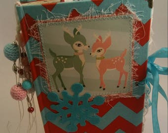 Pink and Blue Deer Christmas Junk Journal / Altered Book / Upcycled / Smash Book / Scrapbook / Diary / Photo Album / Memory Keeping