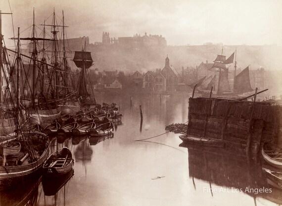 Frank Meadows Sutcliffe Photo Whitby, England, 1880s | Vintage Photo Print  | Ships | Sails | Boats | Sepia | 19th Century | Wall Art | Decor