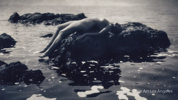 Rudolf Koppitz Photo, Nude Study on Rocks, 1920 | Vintage Photo Print |  Nude Woman | Ocean | Black and White | Wall Art | Home Decor
