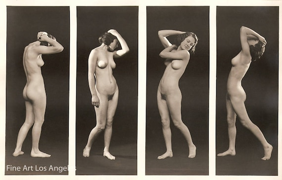 Albert Arthur Allen Photo, Study of four poses, 1920's | Vintage Photo  Print | Nude Woman | Black and White | Female Figure | 1920s | Art