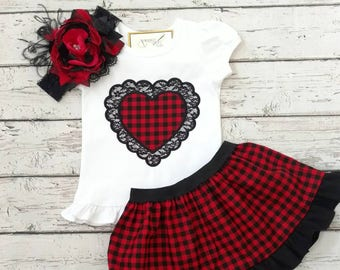 Valentine's Day outfit - girls Valentine outfit - sibling outfits - Valentine's day shirt - Valentine's day dress - baby Valentine outfit