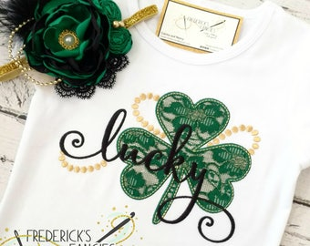 Girls St Patricks Day shirt - St Patricks day tee - baby - shamrock shirt - lucky  shirt - lace - St Patricks day outfit - girls 729fc234c
