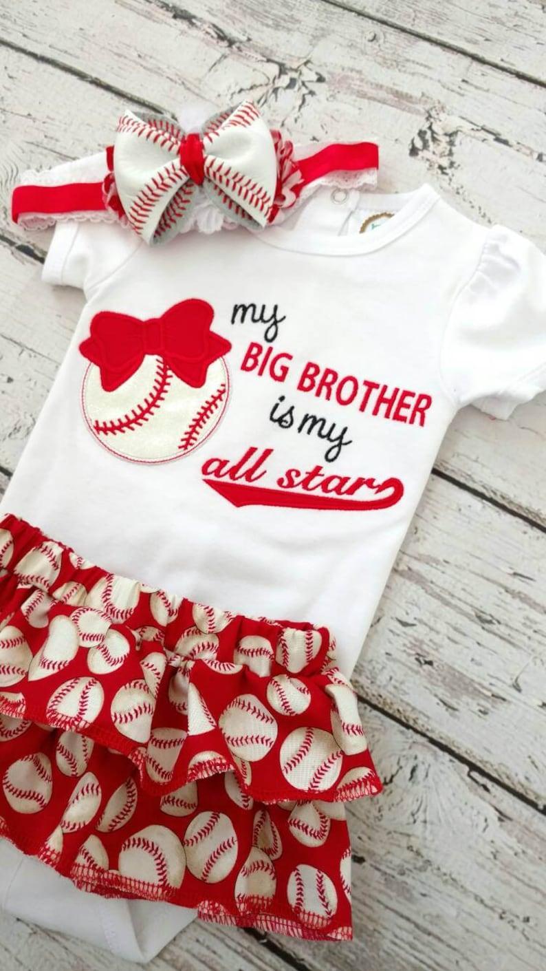 baseball sister baseball headband ruffle skirt Girls baseball outfit baseball bodysuit my big brother is my all star
