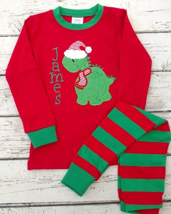 Boys Christmas Pajamas.Boys Christmas Pajamas Dinosaur Christmas Pajamas Matching Christmas Pajamas Christmas Pjs Dinosaur Pajamas Monogrammed Pajamas