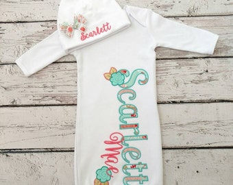 baby girl coming home outfit - baby gown - baby girls gown - newborn gown - personalized baby gifts - monogrammed baby clothes - infant gown