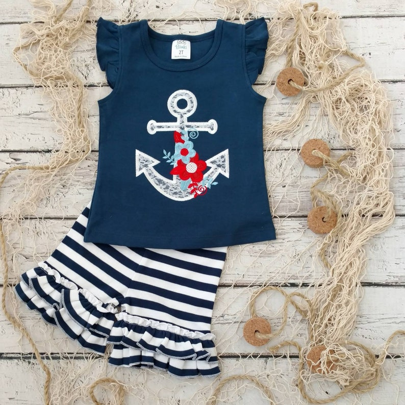 monogram shirt beach outfit anchor shirt nautical outfit Patriotic outfit girls summer outfit girls 4th of July outfi ruffle shorts