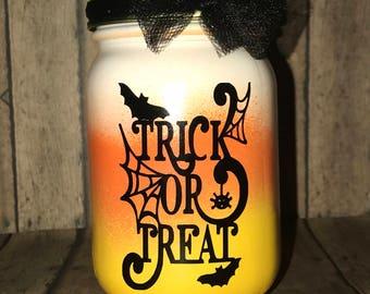 Candy Corn Trick or Treat lanterns,16 oz., pint size mason jars-- tea light included