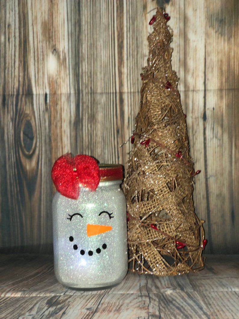 Christmas Lanterns.Girl Snowman Face Christmas Lanterns 16oz Pint Size Mason Jar Tea Light Included