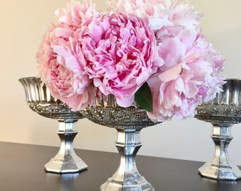 Mercury glass centerpiece, collection, compote, votive, silver mercury glass, silver pedestal vase, compote, large silver, votive, wedding