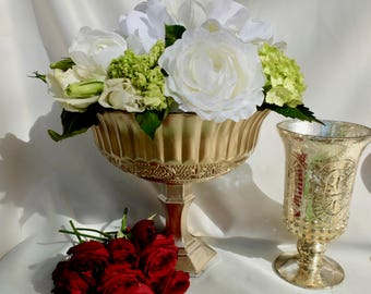 Gold Mercury Glass Vases, Wedding, Gold Centerpieces, Gold Compote, Gold Decor, Wedding Decor, Reception, Gold Pedestal Vase, Bouquet, Bride