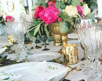 Intricate Vase Pedestal Compote Hollywood Wedding Centerpiece Centrepiece Vase Gold Goblet Distress Vase Gold Mercury Glass Antique Vintage
