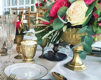 Metallic Gold Brass Hollywood Wedding Centerpiece Centrepiece Pedestal Vases Gold Goblet Distressed Vase Gold Mercury Glass Antique Vintage